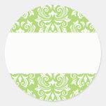 Chic stylish ornate lime green damask pattern sticker