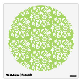 Chic stylish ornate lime green damask pattern wall graphic