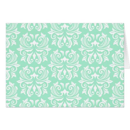 Chic stylish ornate mint green damask pattern card