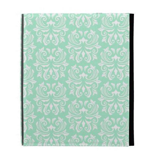 Chic stylish ornate mint green damask pattern iPad case