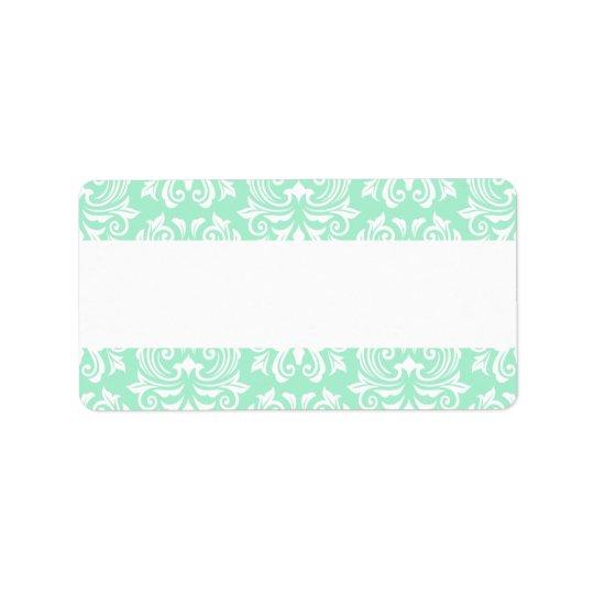 Chic stylish ornate mint green damask pattern label