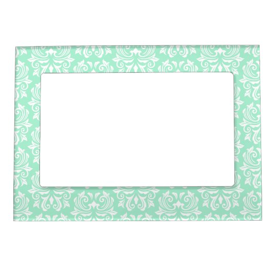 Chic stylish ornate mint green damask pattern magnetic photo frame