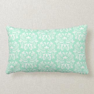 Chic stylish ornate mint green damask pattern throw pillows