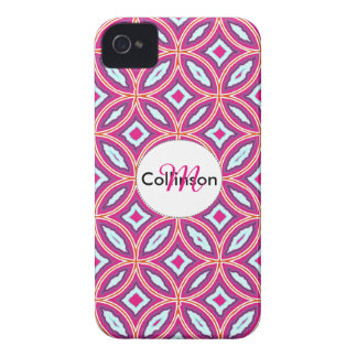 Chic Stylish Pink Blue Mix Moroccan Tile Patterned iPhone 4 Case-Mate Case