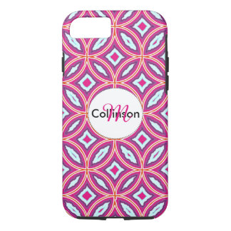 Chic Stylish Pink Blue Mix Moroccan Tile Patterned iPhone 8/7 Case