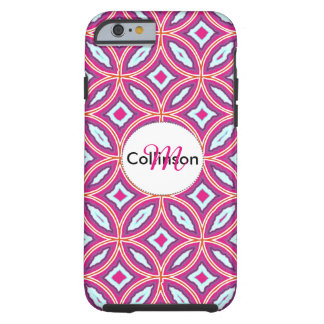 Chic Stylish Pink Blue Mix Moroccan Tile Patterned Tough iPhone 6 Case