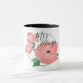 """CHIC & STYLISH_PRETTY """"MRS"""" PINK FLORAL Mug"""