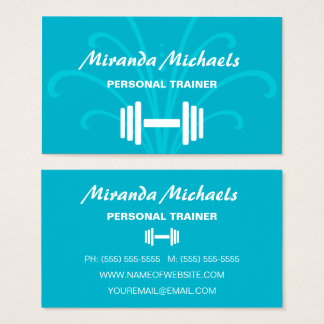 Chic Stylish Turquoise Personal Fitness Trainer Business Card