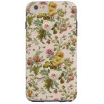 Chic Stylish Vintage Pink Rose Flower Pattern Tough iPhone 6 Plus Case