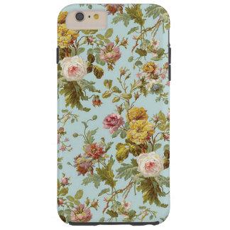 Chic Stylish Vintage Pink Rose Flower Pattern Tough iPhone 6 Plus Case