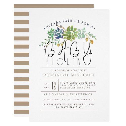 Chic Succulent Garden  Watercolor Baby Shower Invitation