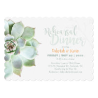 Chic Succulent Wedding Rehearsal Dinner Invitation