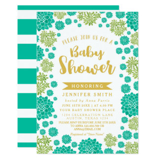 Chic Succulents Garden Watercolor Baby Shower Card