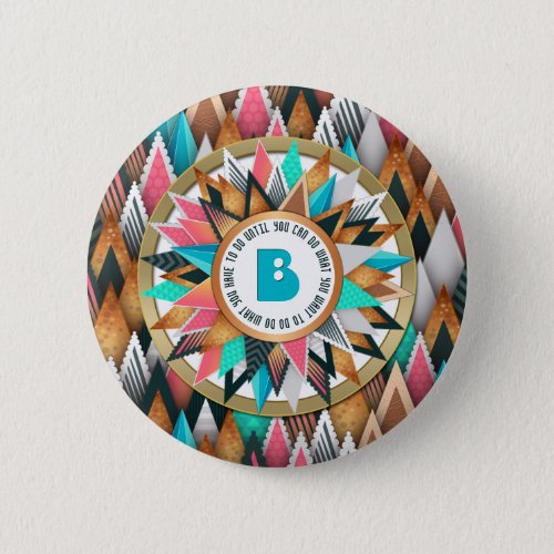 Chic Sunburst Monogram Trendy Geometric Triangles Button