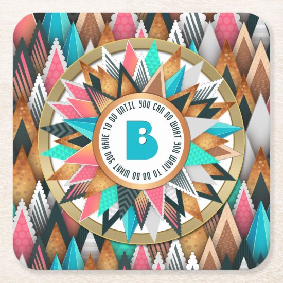 Chic Sunburst Monogram Trendy Geometric Triangles Square Paper Coaster