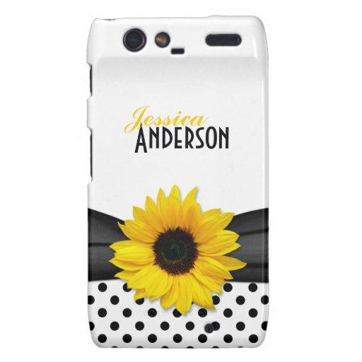 Chic Sunflower Black White Polka Dot Motorola Droid RAZR Cases