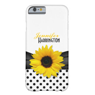 Chic Sunflower Polka Dot Barely There iPhone 6 Case