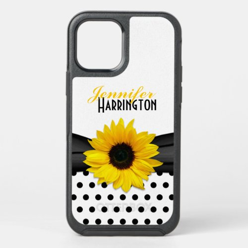 Chic Sunflower Polka Dot Personalized Phone Case