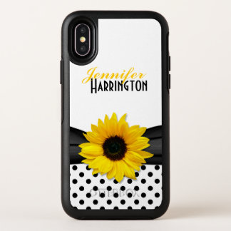 Chic Sunflower Polka Dot Personalized OtterBox Symmetry iPhone X Case