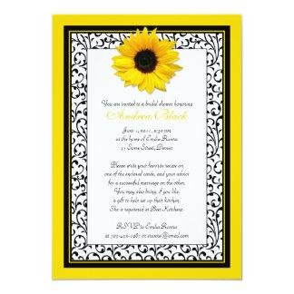 Chic Sunflower Recipe Bridal Shower Invitation
