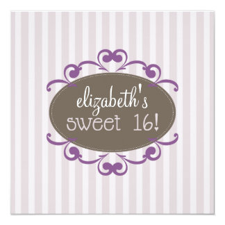 Chic Sweet 16 Birthday Party Invitation (lavender)