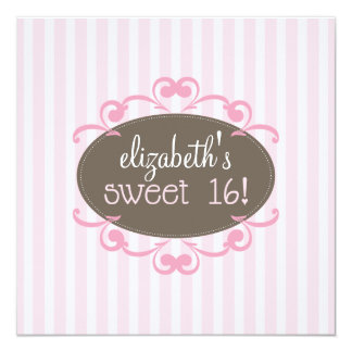 Chic Sweet 16 Birthday Party Invitation (pink)
