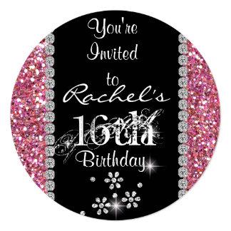 CHIC SWEET 16 Birthday Party  ROUND Invitation