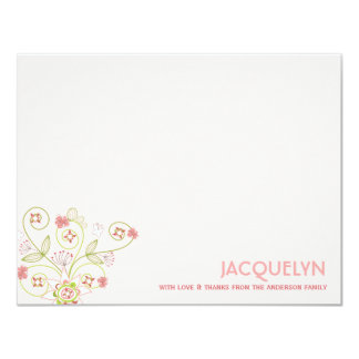 Chic Sweet Pink Blooms Baby Girl Birth Thank You 4.25x5.5 Paper Invitation Card