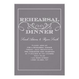 Chic Swirl Gray Rehearsal Dinner Invitation