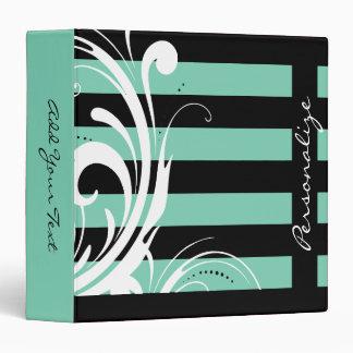 Chic Swirly Stripe Design (DIY Background Color) 3 Ring Binder