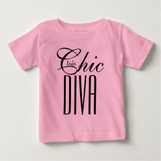 """CHIC T_""""tres Chic DIVA"""" TODDLER_BLACK TEXT Baby T-Shirt"""