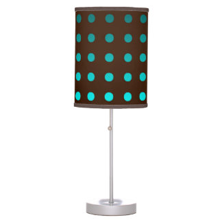 Chic Table Lamp with Turquoise Dots on Brown Shade