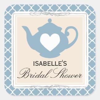 Chic Tan & Blue Teapot Bridal Shower Tea Party Square Sticker