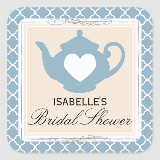 Chic Tan & Blue Teapot Bridal Shower Tea Party Square Sticker