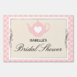 Chic Tan & Pink Teapot Bridal Shower Tea Party Sign