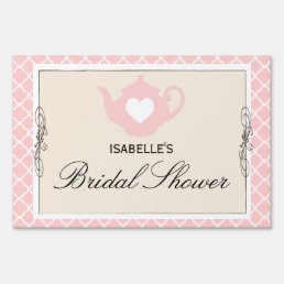 Chic Tan & Pink Teapot Bridal Shower Tea Party Sign