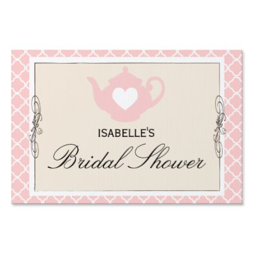 Valentines Themed Chic Tan & Pink Teapot Bridal Shower Tea Party Sign