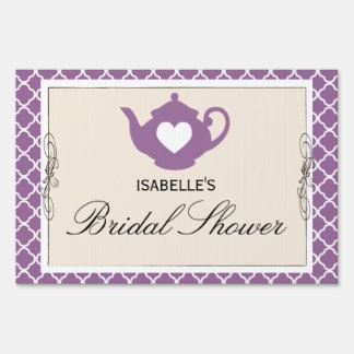 Chic Tan & Purple Teapot Bridal Shower Party Sign