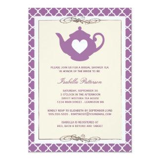 Chic Tan & Purple Teapot Bridal Shower Tea Party Card
