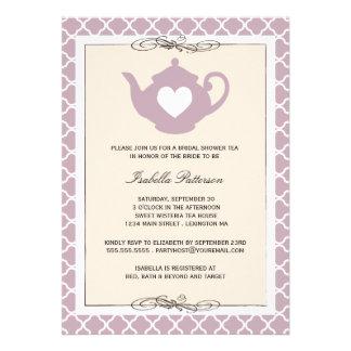 Chic Tan Purple Teapot Bridal Shower Tea Party Personalized Announcement