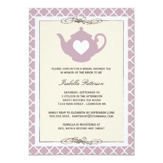 Chic Tan & Purple Teapot Bridal Shower Tea Party Personalized Announcement