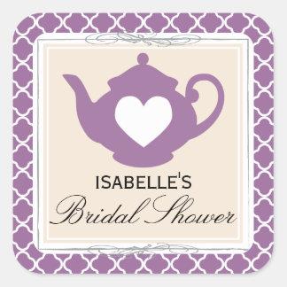 Chic Tan & Purple Teapot Bridal Shower Tea Sticker