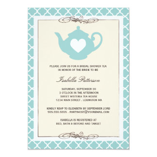 Chic Tan & Teal Teapot Bridal Shower Tea Party Card