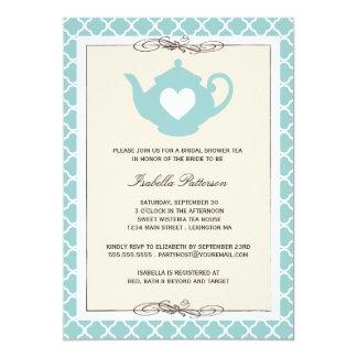 Chic Tan & Teal Teapot Bridal Shower Tea Party 5x7 Paper Invitation Card