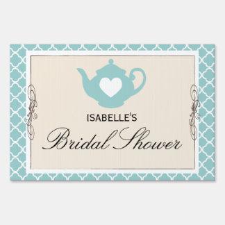 Chic Tan & Teal Teapot Bridal Shower Tea Party Lawn Sign