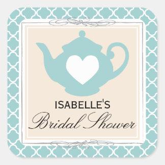Chic Tan & Teal Teapot Bridal Shower Tea Party Square Sticker