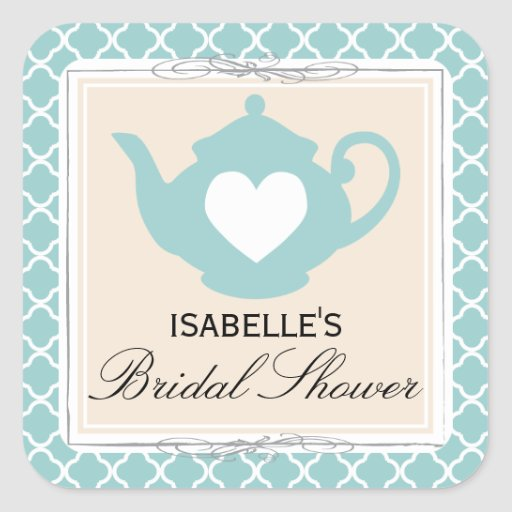 Chic Tan & Teal Teapot Bridal Shower Tea Party Square Sticker
