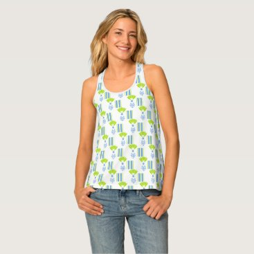Beach Themed CHIC TANK TOP_MOD TROPICAL BLUE ISLAND PINEAPPLES