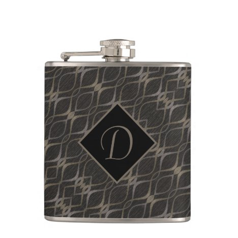 Chic Taupe Abstract Pattern Monogrammed Flask