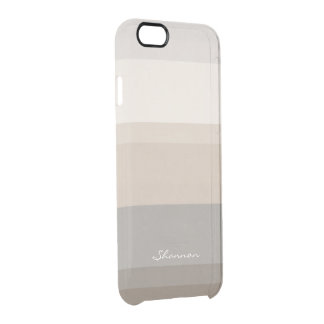 Chic Taupe, Cream and Gray striped iPhone 6 case Uncommon Clearly™ Deflector iPhone 6 Case